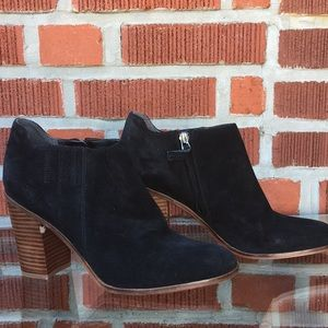 Franco Sarto Suede Black Zip Up Boots